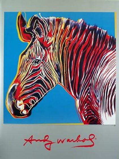 ANDY WARHOL, RARE OFFICIAL WILDLIFE ZEBRA ART PRINT