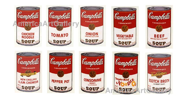 SUNDAY B MORNING WARHOL CAMPBELL SOUP 10 CAN COLLECTION