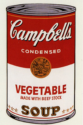 SUNDAY B MORNING WARHOL CAMPBELL SOUP CAN SCREEN PRINT(Vegetabl)