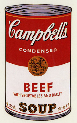 SUNDAY B MORNING WARHOL CAMPBELL SOUP CAN SCREEN PRINT(Beef)