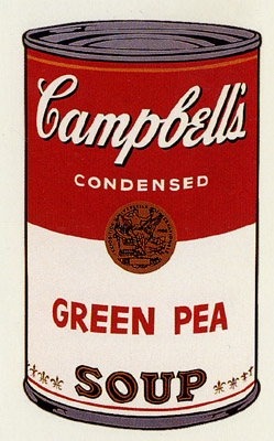SUNDAY B MORNING WARHOL CAMPBELL SOUP CAN SCREEN PRINT(Grn Pea)