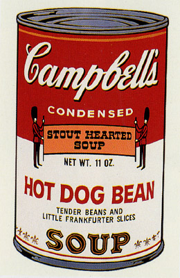 SUNDAY B MORNING WARHOL CAMPBELL SOUP CAN SCREEN PRINT(HotDgBn)