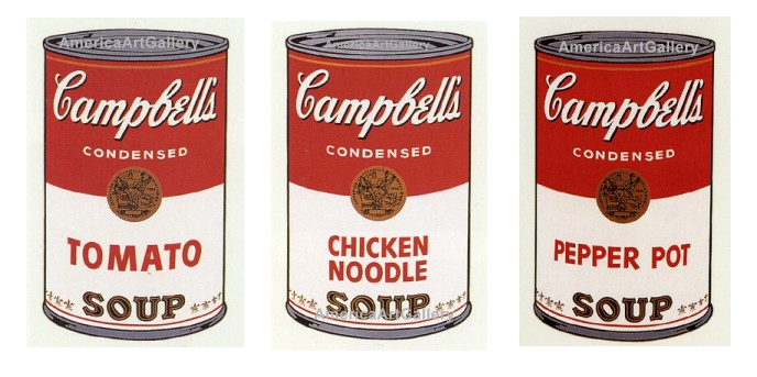 ANDY WARHOL SUNDAY B MORNING CAMPBELL'S SOUP SUITE OF 3