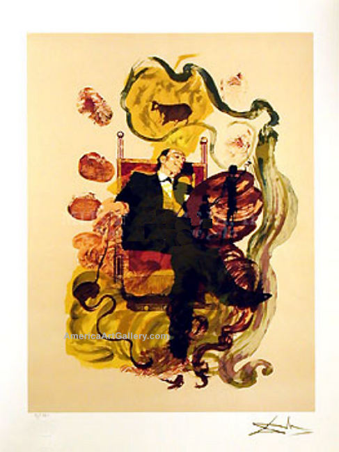 RARE SIGNED SALVADOR DALI DREAM PORTRAIT Ltd ED w/COA