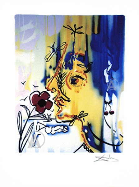 FABULOUS SALVADOR DALI SIGNED SELF PORTRAIT w/COA