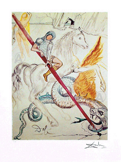 RARE! DALI SIGNED Ltd Ed St GEORGE & THE DRAGON w/COA