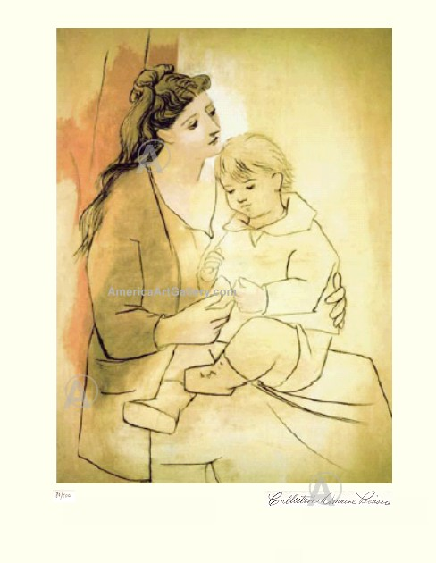 PABLO PICASSO MOTHER WITH CHILD HAND SIGNED L/E w/COA