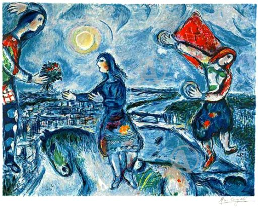 MARC CHAGALL LOVERS OVER PARIS SIGNED S/N LITHO Ltd Ed