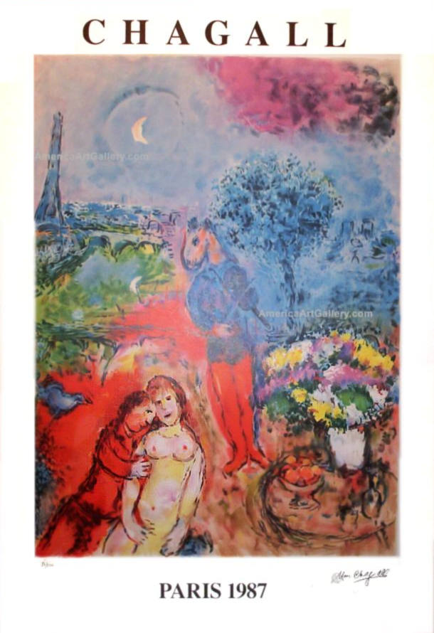 MARC CHAGALL PARIS EIFFEL TOWER SERENADE LE RARE SIGNED