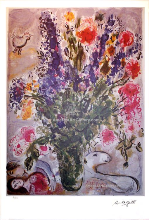 MARC CHAGALL EXQUISITE FLOWERS SIGNED S/N LITHO w/COA