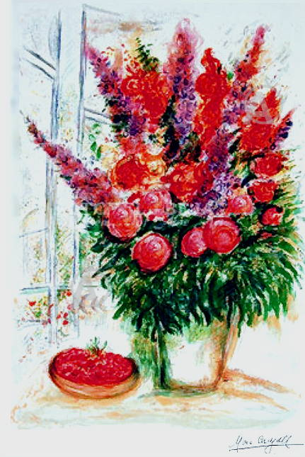 MARC CHAGALL SIGNED BOUQUET WITH BOWL OF CHERRIES w/COA