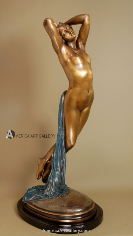 EXQUISITE SEXY FRENCH NUDE LADY BRONZE SIGNED SCULPTURE