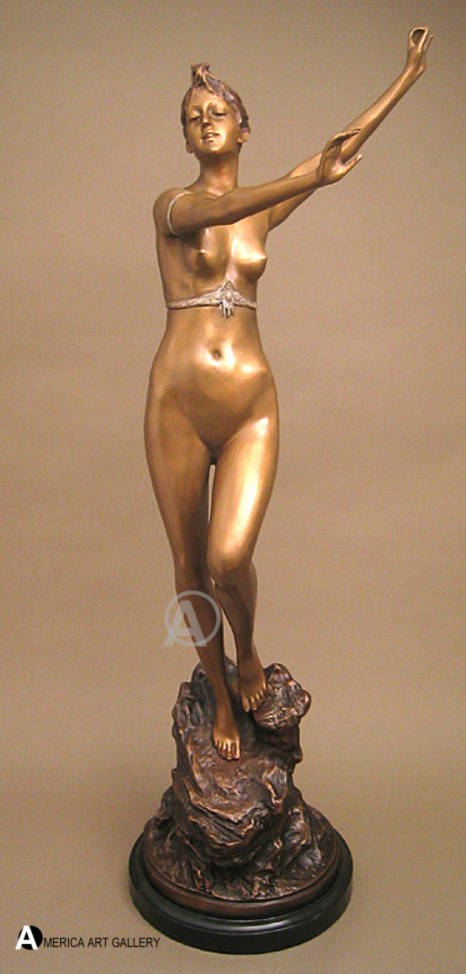 EROTIC NUDE ART DECO BEAUTY LADY BRONZE SCULPTURE w/COA