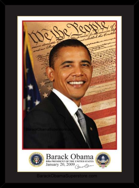 SPLENDID EXCELLENT FRAMED  BARACK OBAMA INAUGURAL PORTRAIT