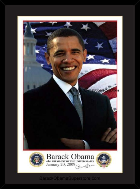 SPLENDID FRAMED  BARACK OBAMA INAUGURAL PORTRAIT  WITH PRESIDENT