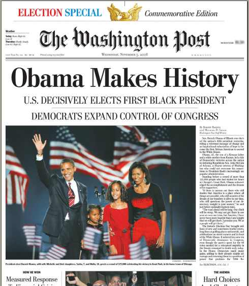 THE WASHINGTON POST OBAMA MAKES HISTORY ELECTION NEWSP